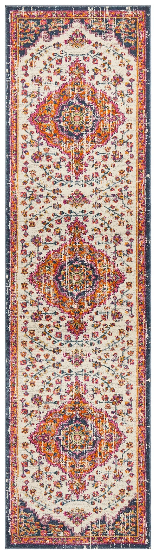 Miramas Multi Colour Traditional Medallion Runner Rug
