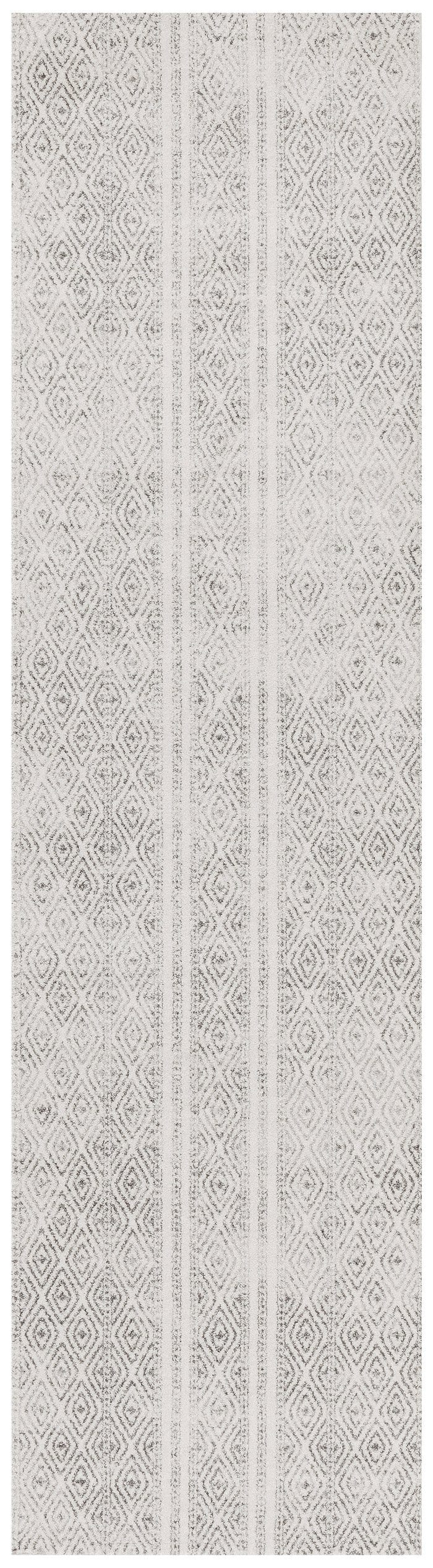 Moca Ivory & Grey Tribal Diamond Pattern Runner Rug