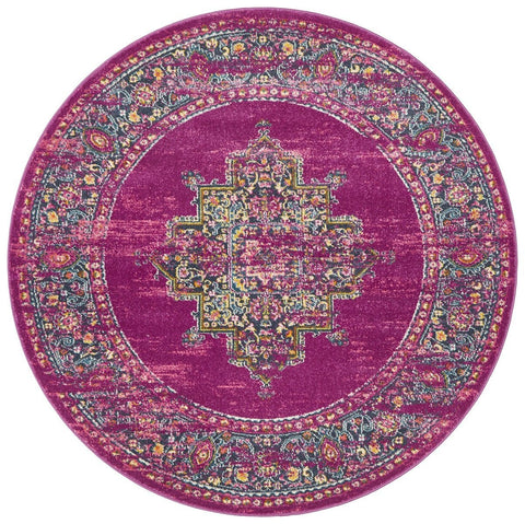 Montrouge Fuschia Round Traditional Medallion Rug