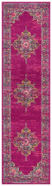 Montrouge Fuschia Traditional Medallion Runner Rug