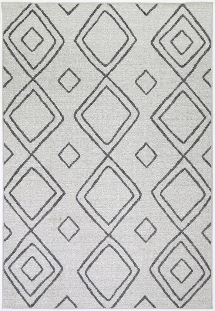 Moussaine Cream Diamond Pattern Indoor Outdoor Rug