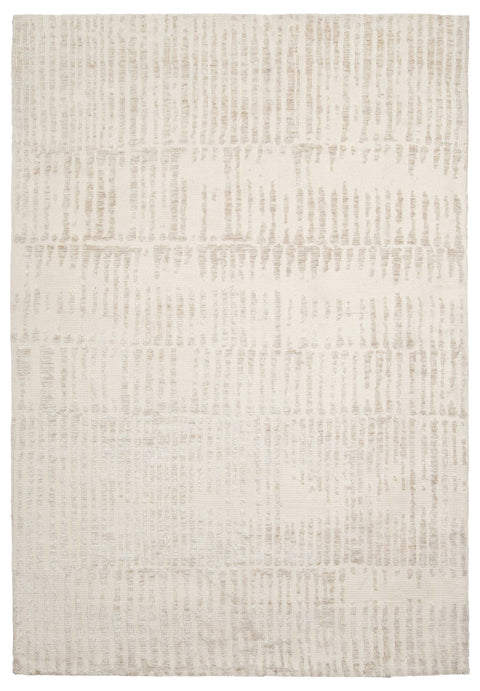 Nahba Ivory and Cream Textured Tribal Rug