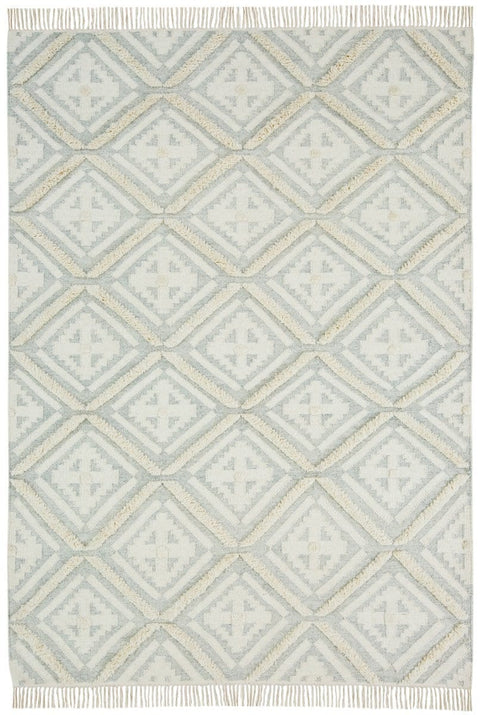 Nalini Tribal Diamond Pattern Ivory and Light Grey Rug (Pre-Order)