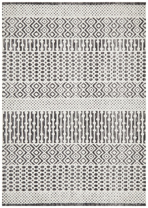 Naura Ivory and Charcoal Tribal Transitional Rug