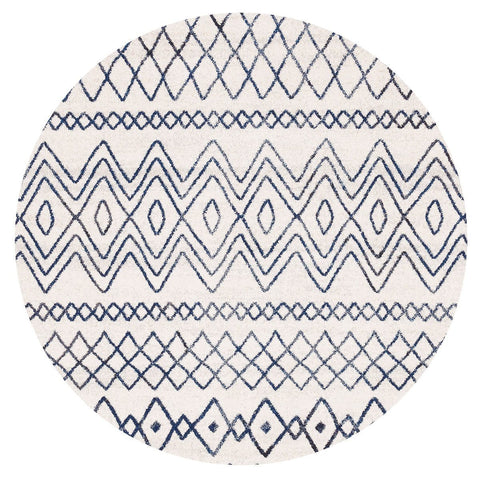 Newport Navy & White Tribal Pattern Round Rug
