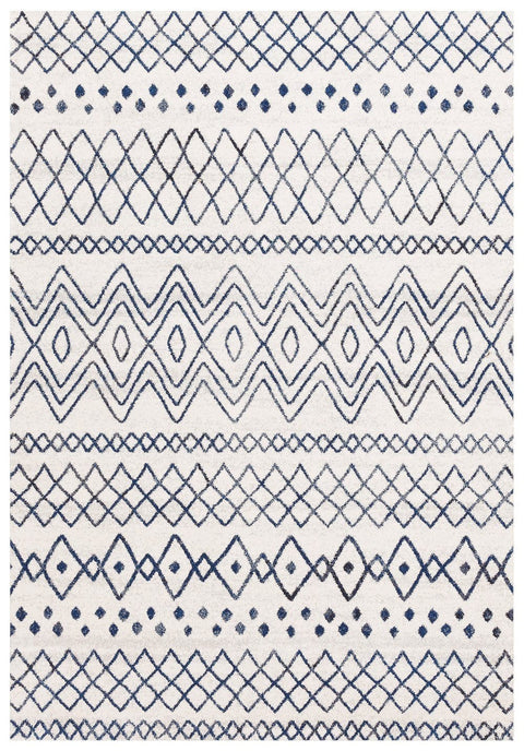 Newport Navy & White Tribal Pattern Rug
