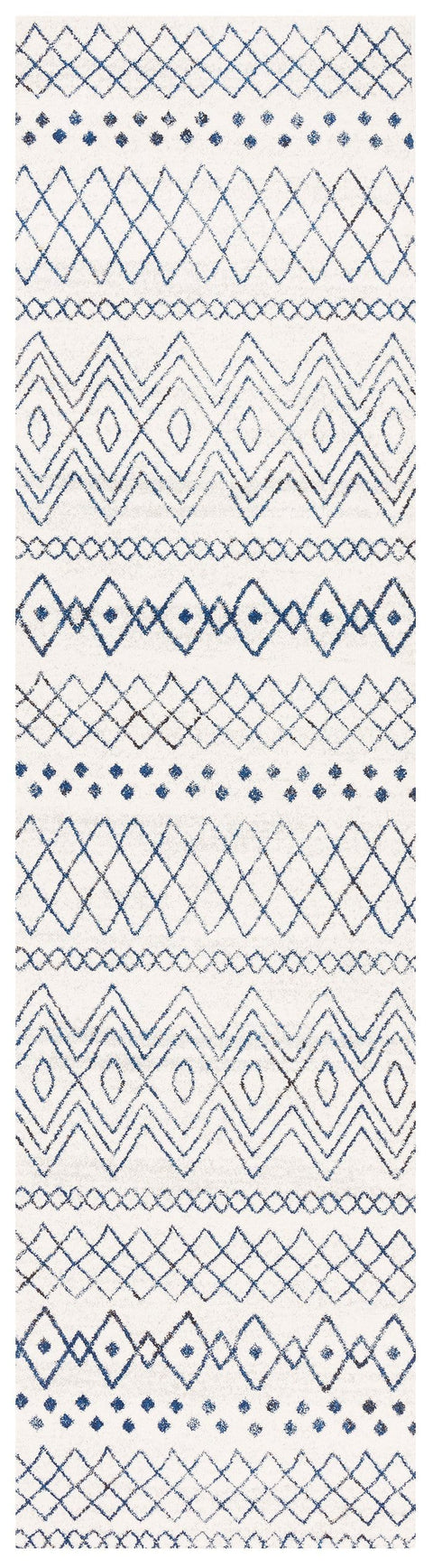 Newport Navy & White Tribal Pattern Runner Rug