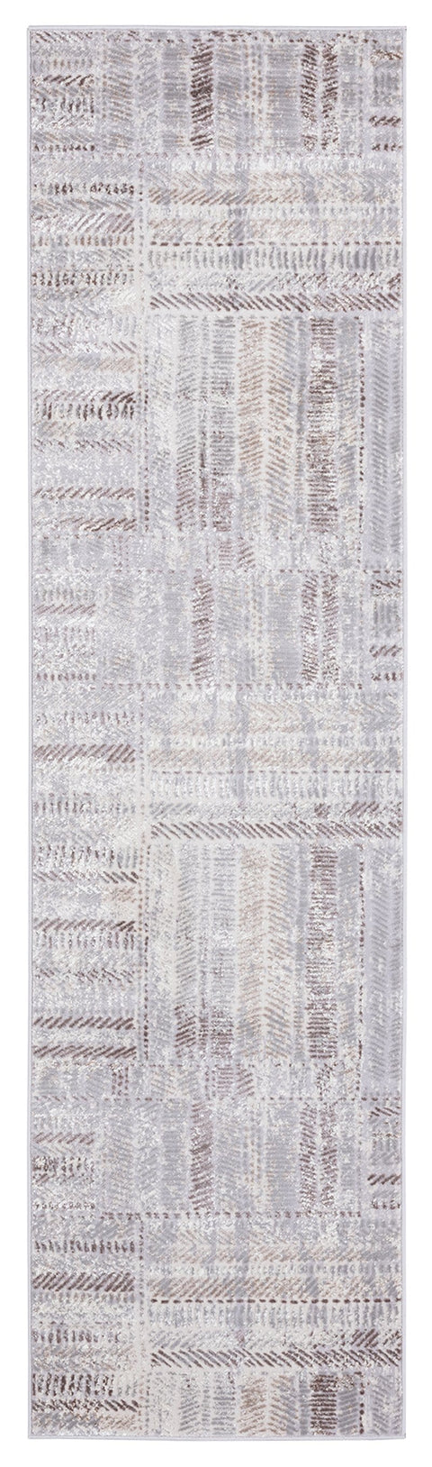 Nishem Brown Grey and Ivory Distressed Tribal Runner Rug