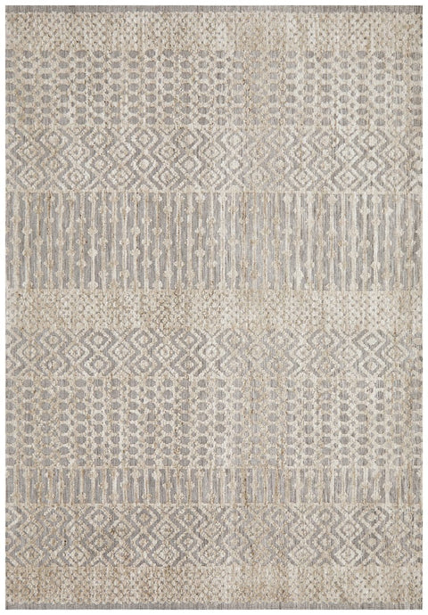 Niwari Natural Grey and Beige Tribal Transitional Rug