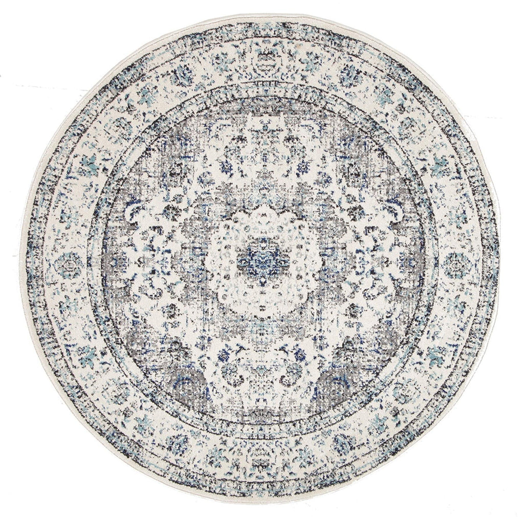 Nuuk Ivory & Blue Distressed Transitional Round Rug