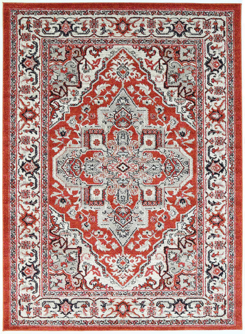 Ojai Red Orange and Pink Distressed Medallion Rug