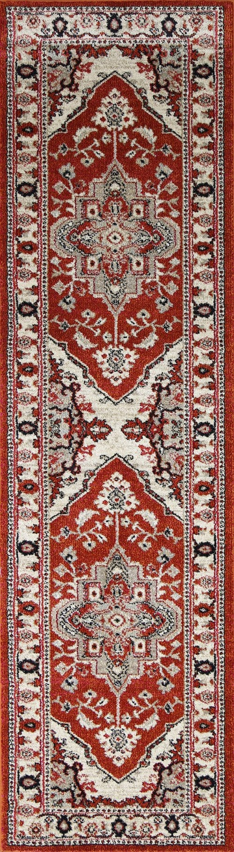 Ojai Red Orange and Pink Distressed Medallion Runner Rug