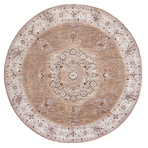 Olive Caramel Brown Traditional Medallion Round Rug