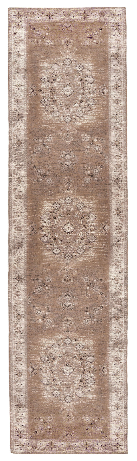 Olive Caramel Brown Traditional Medallion Runner Rug