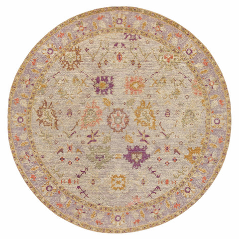 Olivia Boho Beige Purple and Coral Round Rug