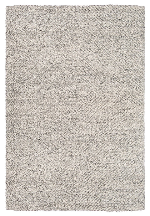Ollie Grey and Ivory Marble Looped Rug