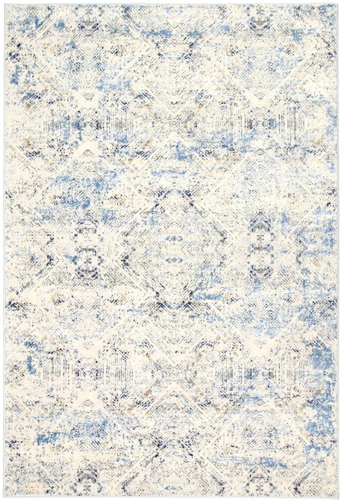 Oregon Blue and Ivory Diamond Print Distressed Rug