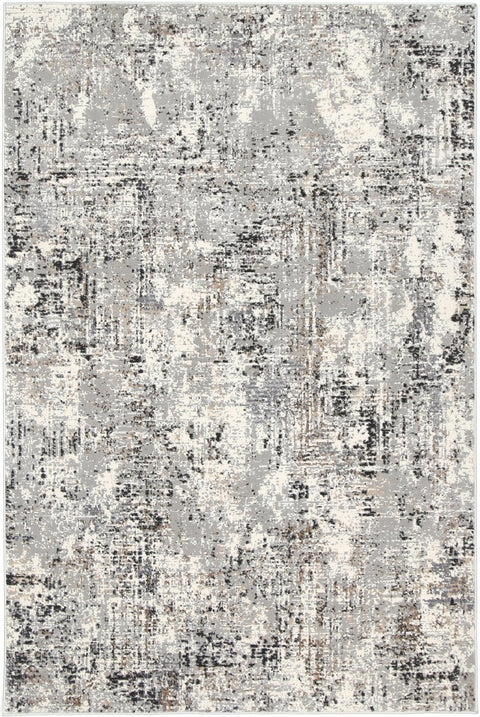 Orono Grey Cream and Black Abstract Distressed Rug