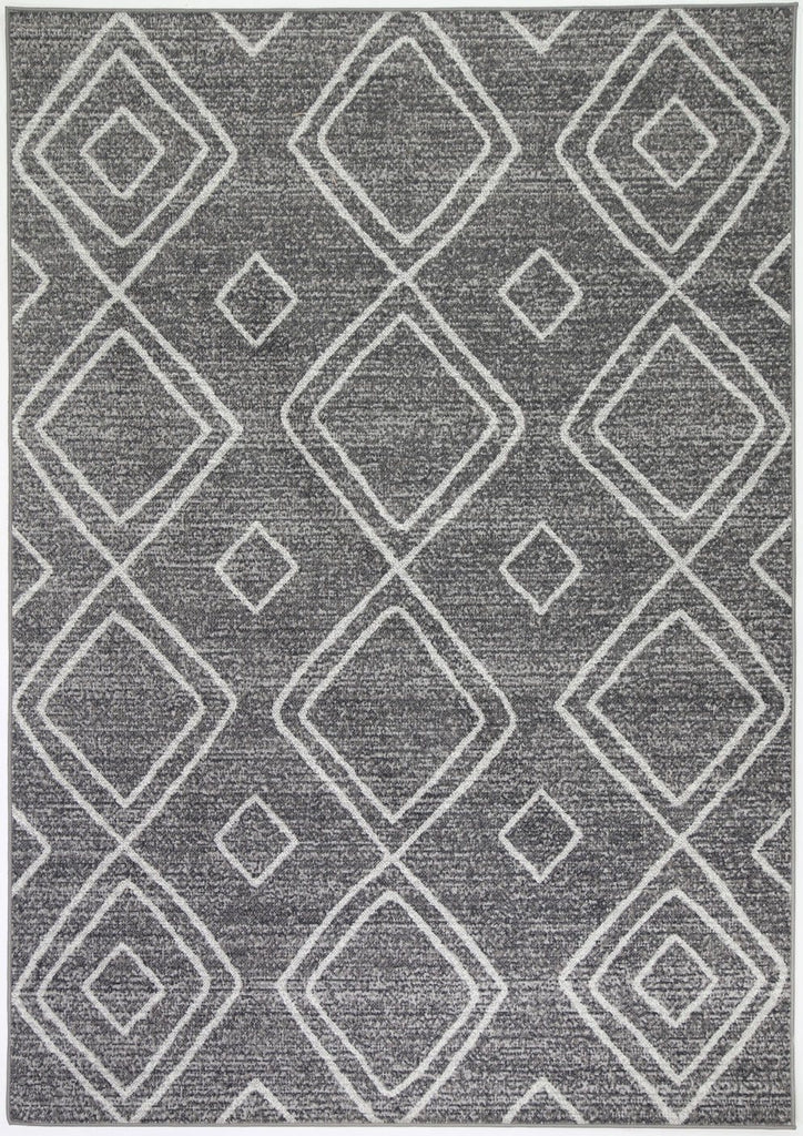 Oulfa Charcoal Diamond Pattern Indoor Outdoor Rug