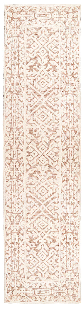 Paloma Peach and Ivory Tribal Patterned Runner Rug