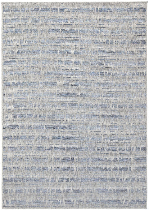 Paphos Blue and Grey Stripe Indoor Outdoor Rug