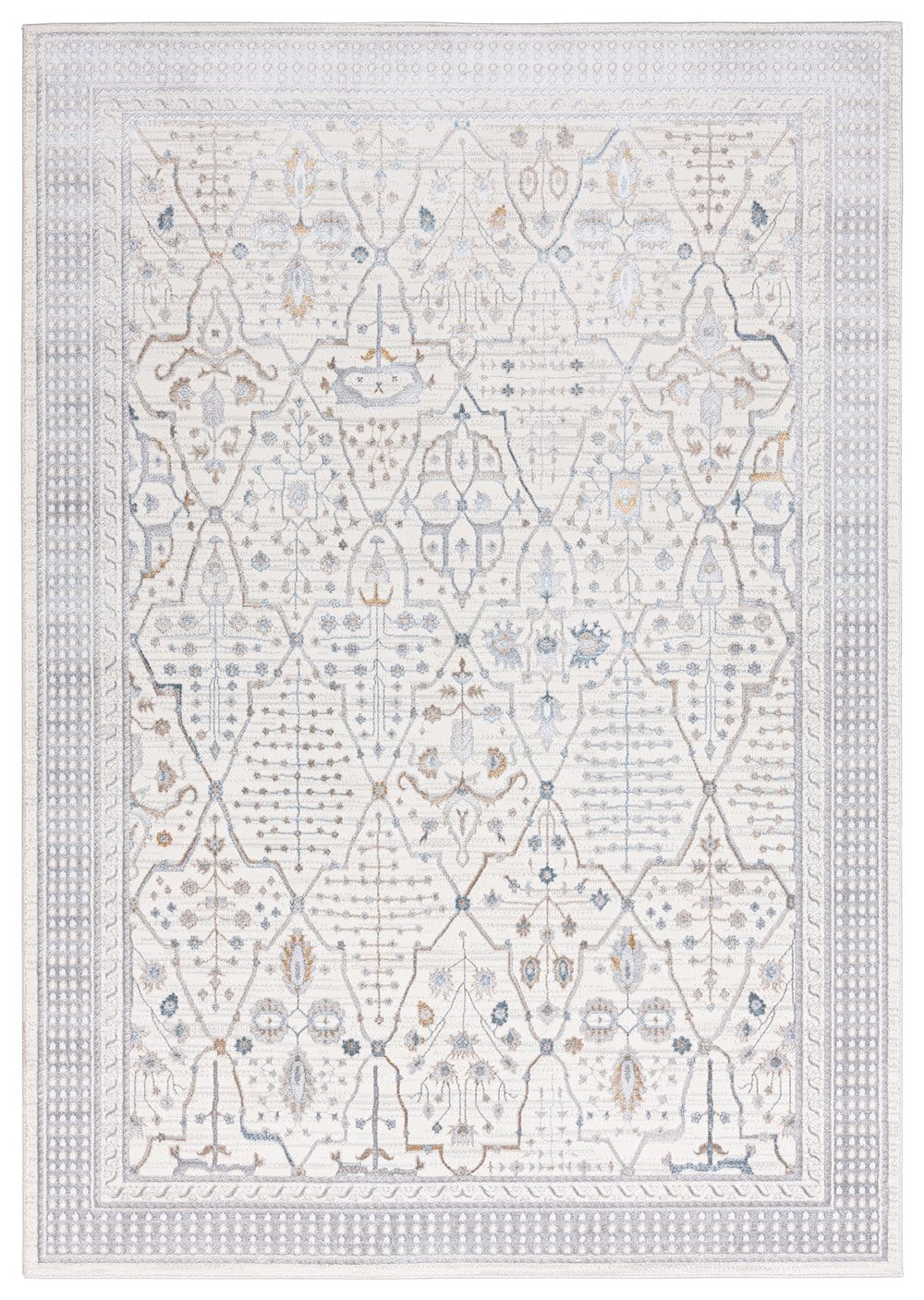 Pheobe Grey Cream and Blue Ornate Rug