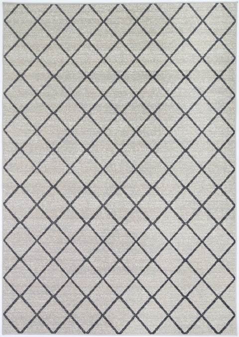 Pisek Cream Lattice Pattern Indoor Outdoor Rug