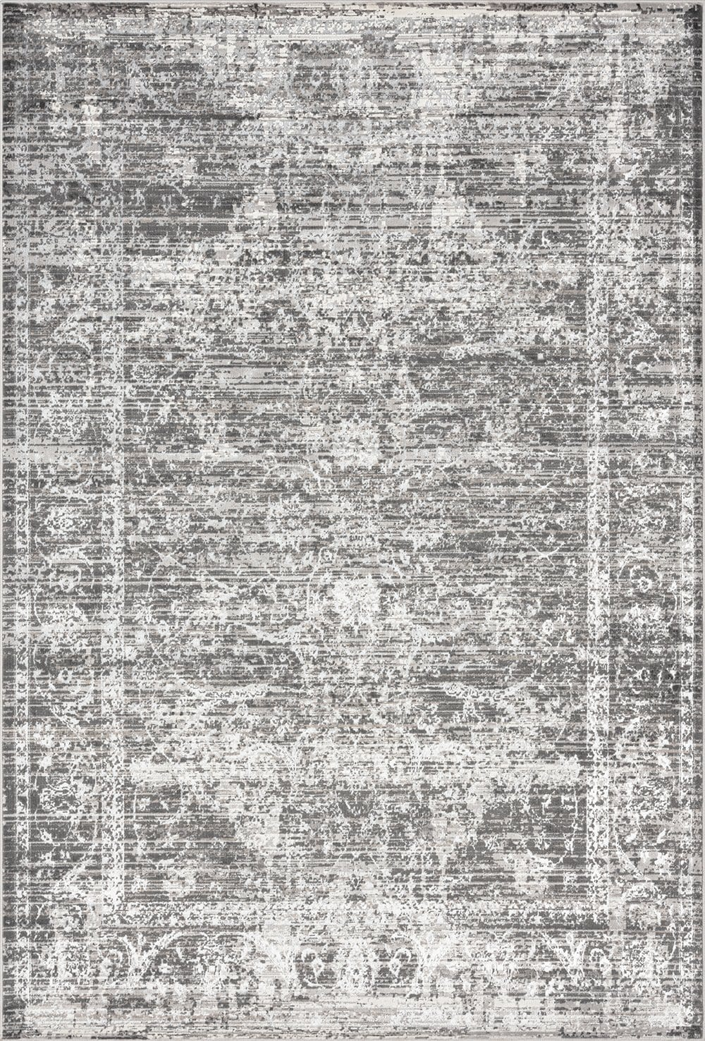 Raina Charcoal Grey and Ivory Traditional Distressed Rug