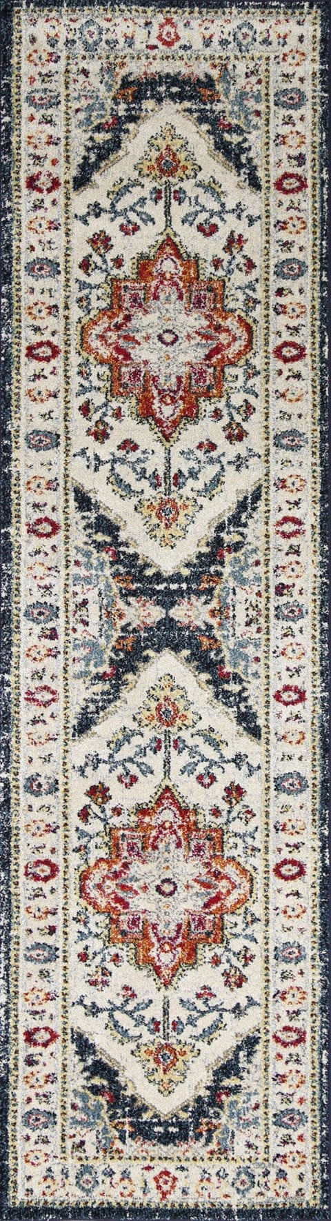 Rama Black Ivory and Navy Distressed Transitional Runner Rug