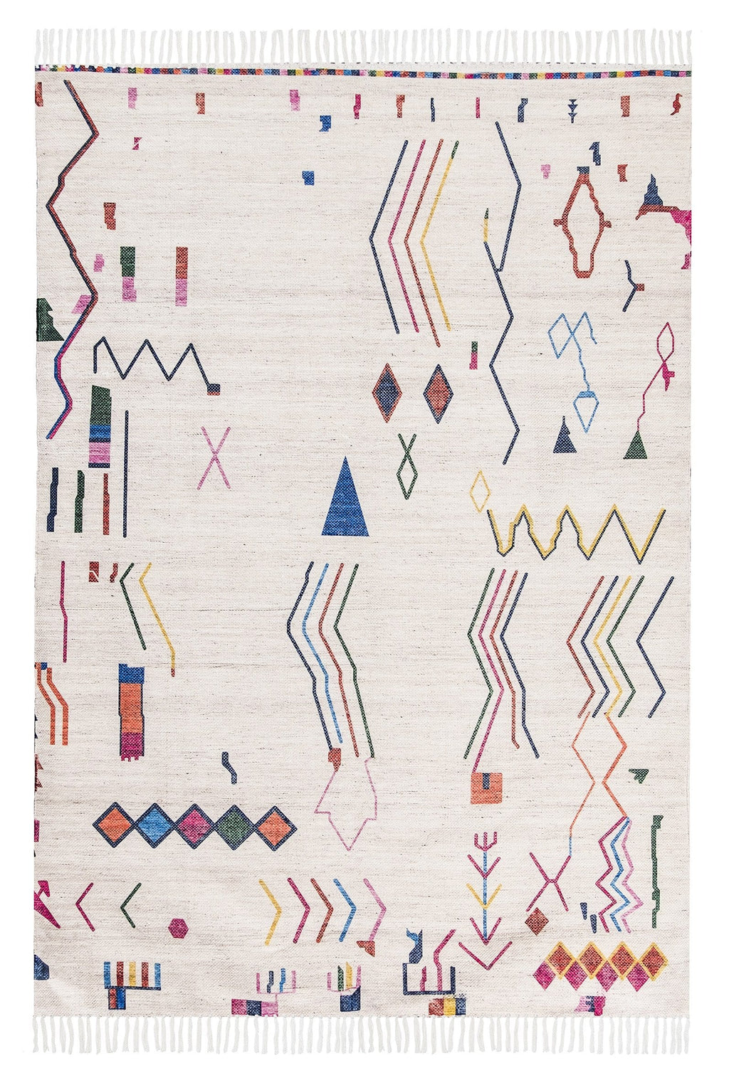Remi Ivory Multi-Colour Abstract Tribal PET Rug