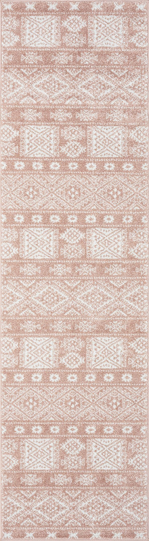 Rita Peach and Ivory Tribal Pattern Runner Rug