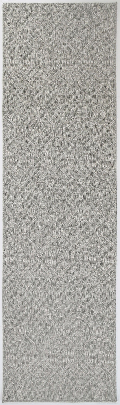 Roseau Grey and Ivory Geometric Indoor Outdoor Runner Rug