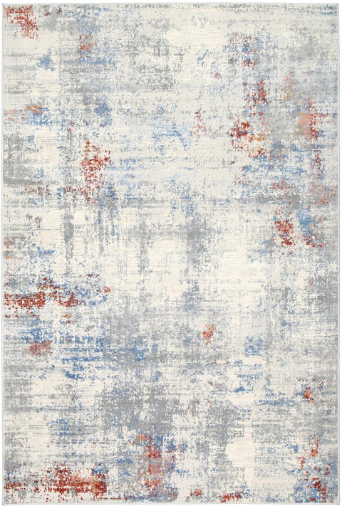 Ruston Grey Blue and Red Abstract Rug