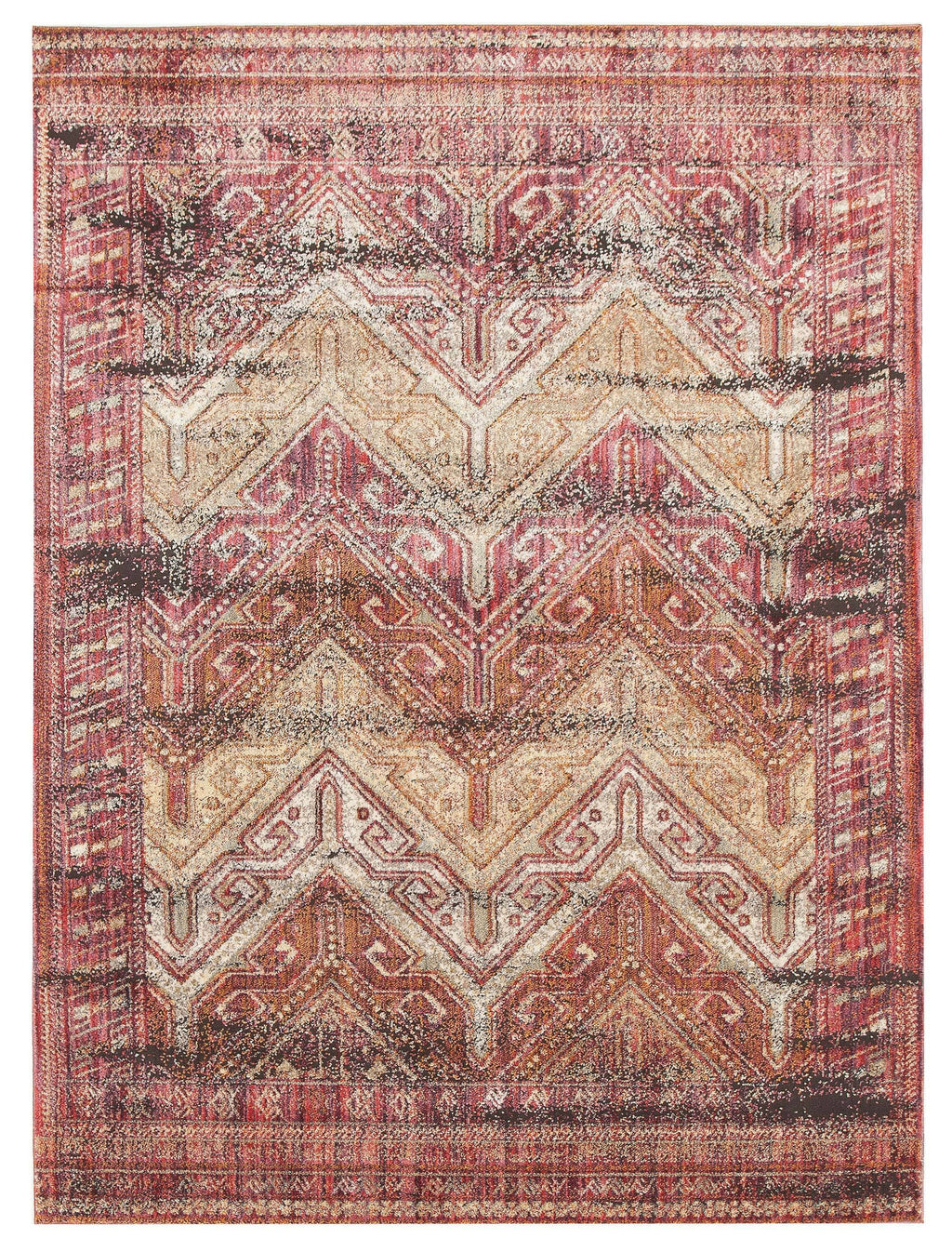 Saida Red Distressed Transitional Rug