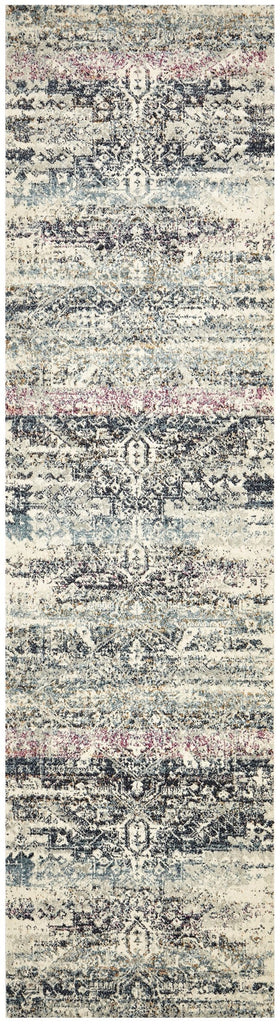Samra Pink and Blue Distressed Medallion Runner Rug