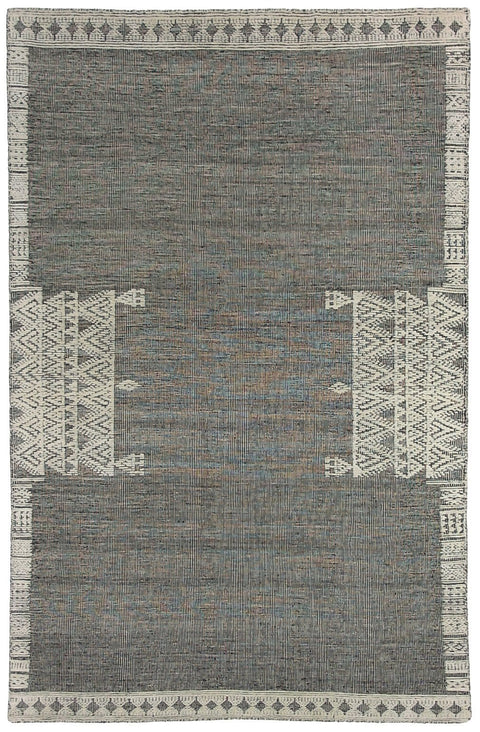 Santa Ana Black Wool & Cotton Tribal Flatweave Rug