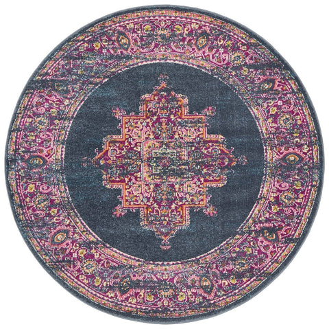 Sarcelles Navy & Fuschia Round Traditional Medallion Rug