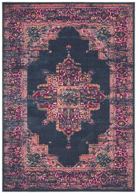 Sarcelles Navy & Fuschia Traditional Medallion Rug