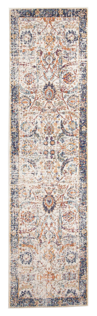 Sardis Orange & Blue Multi Colour Distressed Transitional Runner Rug