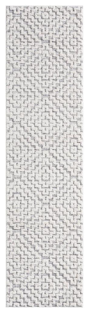 Sarita Ivory and Grey Geometric Textured Runner Rug