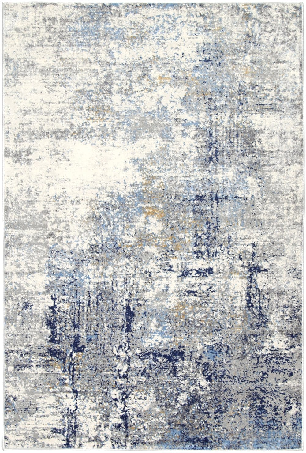 Scranton Blue and Ivory Abstract Rug