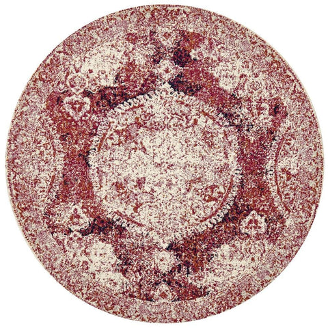 Shirvan Pink & Red Traditional Medallion Round Rug
