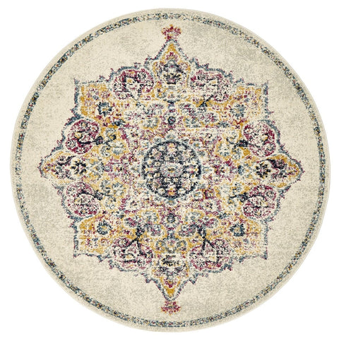 Siazan Blue, Pink & Yellow Traditional Medallion Round Rug
