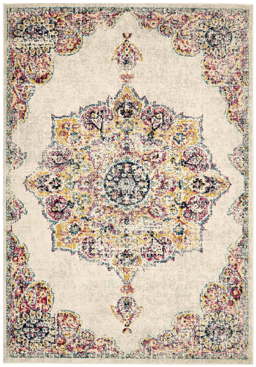 Siazan Blue, Pink & Yellow Traditional Medallion Rug