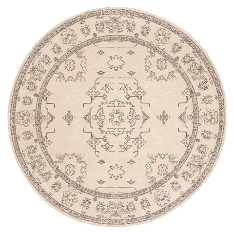 Sienna Beige and Black Scandi Print Round Rug