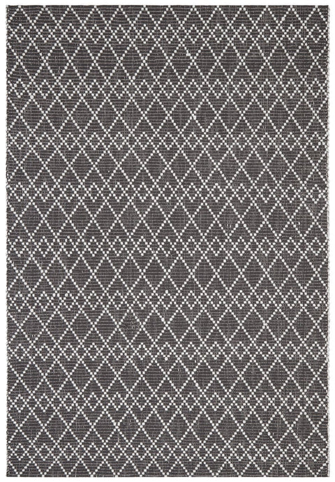 Silverton Black and White Geometric Pattern Flatweave rug