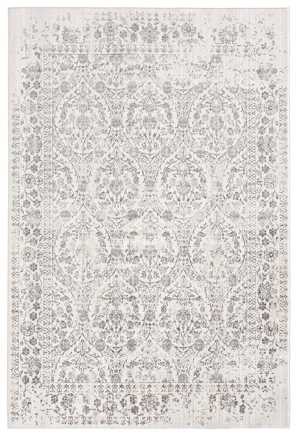 Simran Cream Brown and Silver Traditional Floral Rug
