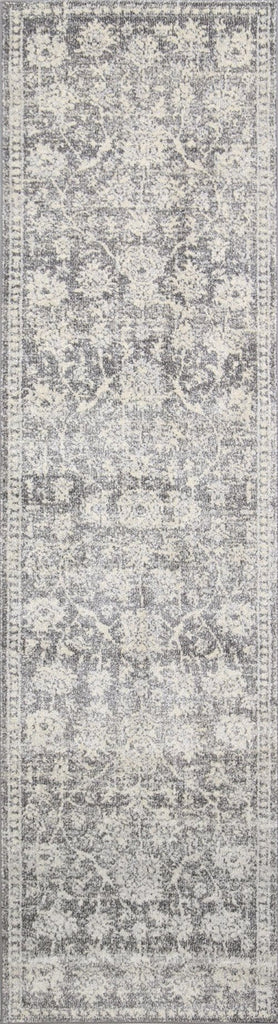 Sinclair Grey Ivory Floral Motif Transitional Runner Rug