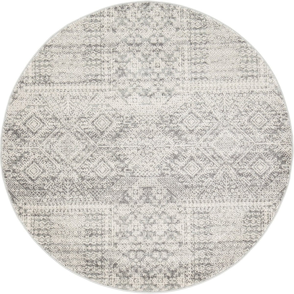 Siraf Silver Grey Transitional Round Rug