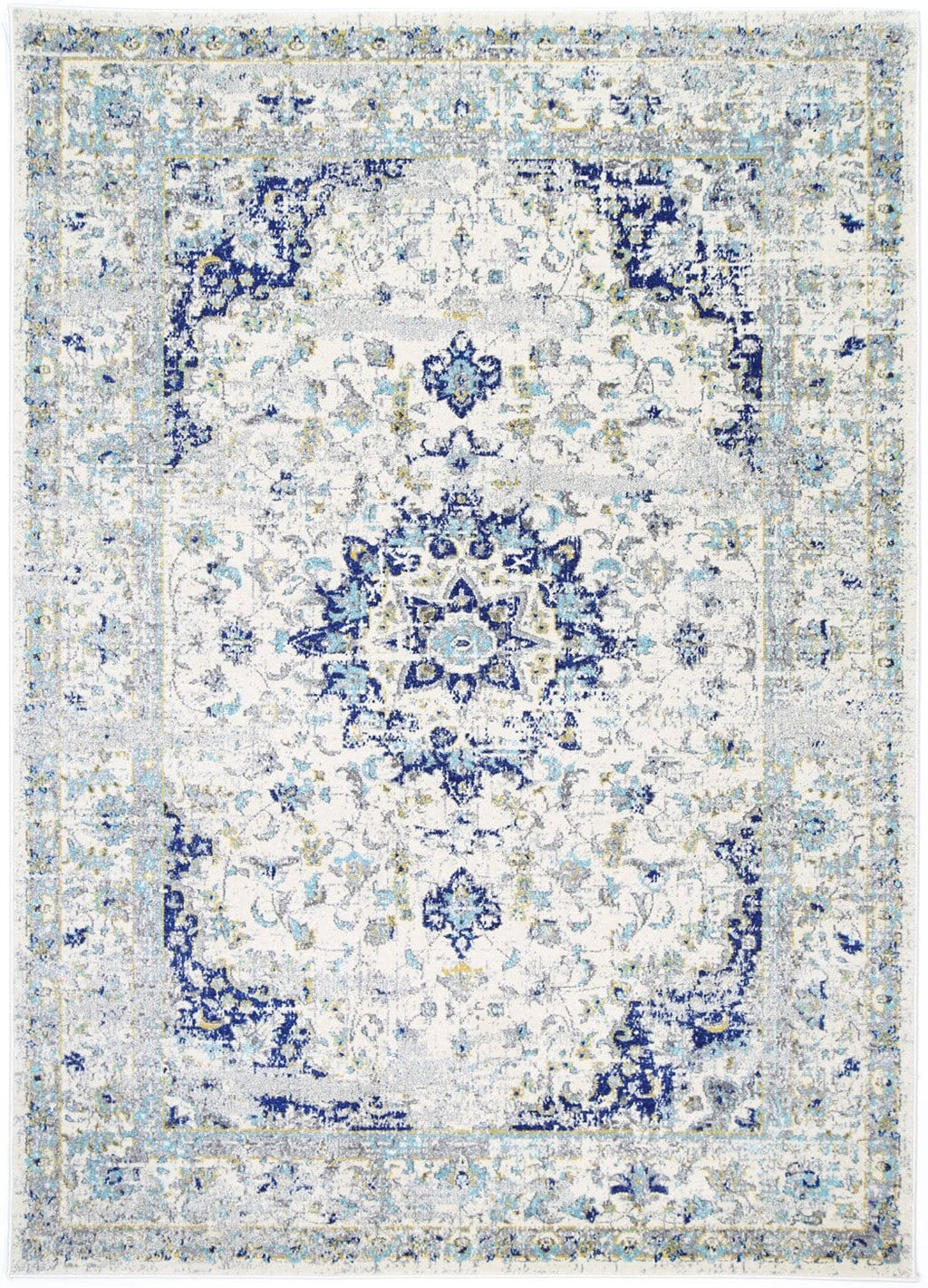 Skiens Cream and Blue Transitional Vintage Rug